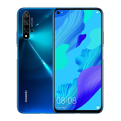 "Huawei Nova 5T (128GB, 8GB) 6.26"" LCD, Kirin 980, 48MP Quad Camera, 22.5W Fast Charge, Dual SIM GSM Unlocked Global 4G LTE International Model YAL-L21 (Crush Blue)"