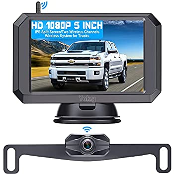 """Wireless Backup Camera HD 1080P with 5"""" Monitor Hitch Rear View Camera for Trucks,Camper,Car,SUV Super Night Vision Easy Installation Second Wireless RV Camera Available Yakry Y24"""
