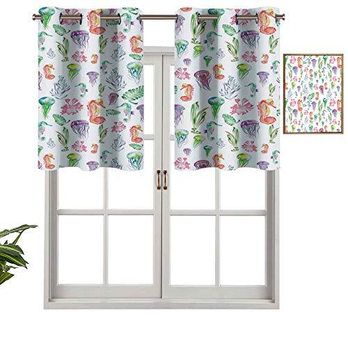 Hiiiman Cortinas opacas con aislamiento térmico y ojales cortos, con diseño de caballitos de mar coloridos, juego de 1, cenefas pequeñas de media ventana de 137 x 45 cm para dormitorio