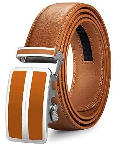 Cinturón de cuero amarillo mostaza para hombre