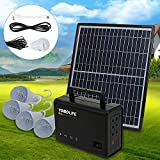 Dyrabrest Portable Solar Panel Power Energy Storage Generator Kit 4 LED Light Bulb USB Charger 12V 4A