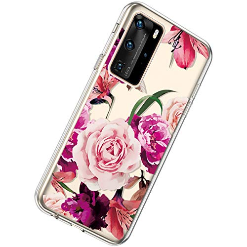 Herbests Kompatibel mit Huawei P40 Pro Hülle Silikon Weich TPU Handyhülle Durchsichtige Schutzhülle Niedlich Muster Transparent Ultradünn Kristall Klar Handyhülle,Rose Blume