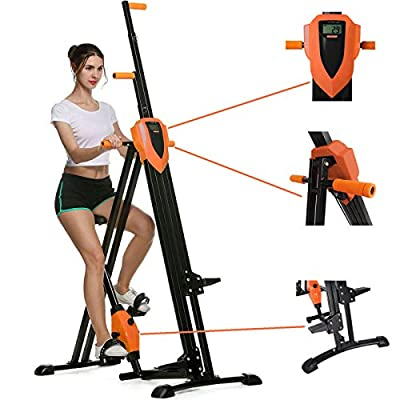 HEKA Vertical Climber Machine, Folding Climbing Machine for Home Gym Exercise, Fitness Stepper with Adjustable Height&LCD Display(Max Load 350lbs) (Pink) (Orange)