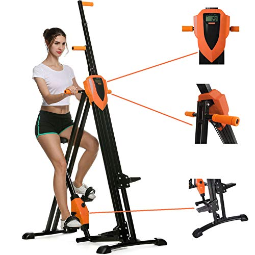 HEKA Vertical Climber for Home Workout, Full Body Workout Vertical Climbing Machine for Home Gym Exercise, Folding Spinning Bike Fitness Stair Stepper with LCD Monitor(Max Load 350lbs)