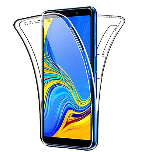 COPHONE Funda Samsung Galaxy A7 2018, Transparente Silicona 360°Full Body Fundas para Samsung A7 2018 Carcasa Silicona Funda Case.