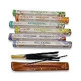 Vedmantra Stamford Set of Premium Hex Aromatherapy Incense Sticks - 6 Packs + Vedmantra Incense Stick Holder - Various Premium Fragrance to Choose (7 Pack Assorted)
