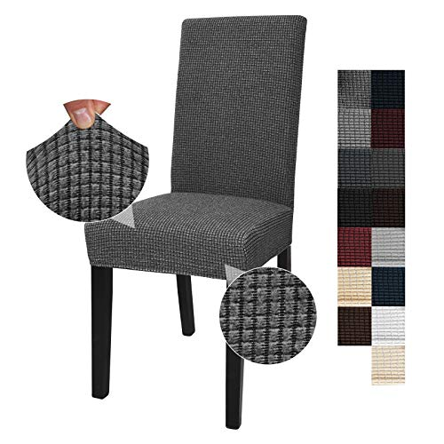 JIVINER Thick Stretchy Dining Chair Slipcover Set Washable Jacquard Parsons Chair Covers Removable Kitchen Chair Furniture Protector for Dining Room, Hotel, Party (4, Black and White)