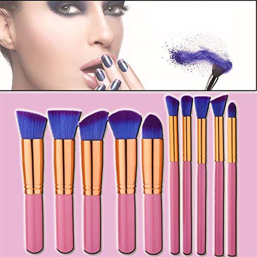 Skonis Kit De Pinceaux De Maquillage 10 Piece Professional Premium Synthetic Foundation Poudre Correcteur Ombres À Paupières Blush Cosmetic Brushes(Gold)