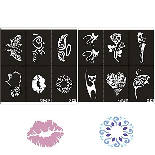 10hojas mujeres niños Kit de plantilla de tatuaje temporal para la pintura corporal Pintura aerógrafo reutilizable modelos de purpurina 11x 8cm)