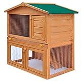 UnfadeMemory Kaninchenstall Kleintierhaus Hasenstall Kiefern-Massivholz Konstruktion Kleintierstall Großzügige Raumaufteilung geeignet für Kaninchen Kleintier (Typ D - 3 Türen)
