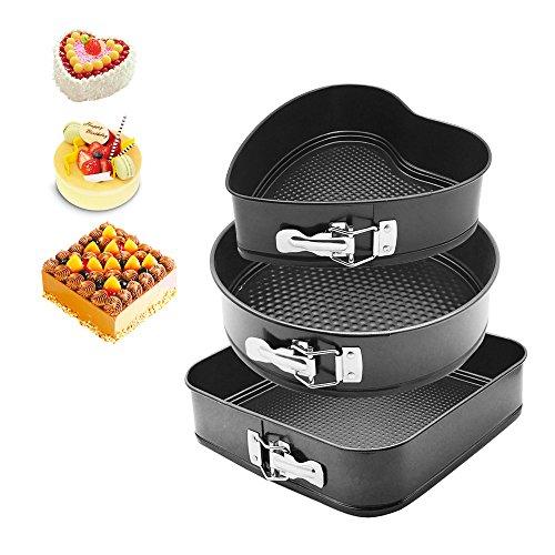 """HOMOW Nonstick Bakeware Springform Pan,Cake Pan, Cheesecakes Pan (9"""" Heart Pan/10"""" Round Pan/11"""" Square Pan (3PCS))"""