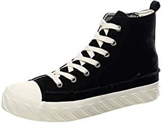XUJW-Shoes, Mens Casual Sneakers for Men Walking Ankle Shoes Lace Up Side Zipper Canvas Shoes Antislip Outsole High Top Durable Travel Classic Soft (Color : Black, Size : 7 UK)
