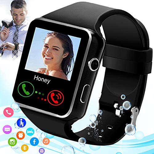 Burxoe Smart Watch,Smartwatch for Android Phones,Smart Watches Touchscreen with Camera Bluetooth Watch Phone with Sim Card Slot Compatible Android Samsung iOS Phone 12 12 Pro 11 10 Men Women