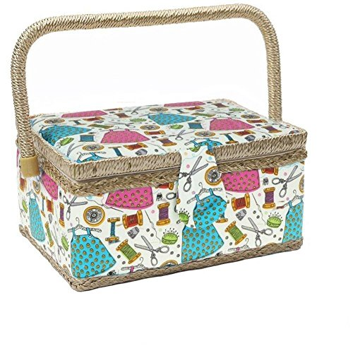 KOVOT Sewing Basket Organizer Set | Includes Folding Carry Handle, Insert Tray & Misc Sewing Accessories | Measures 10 3/4' x 7' x 5.5'H
