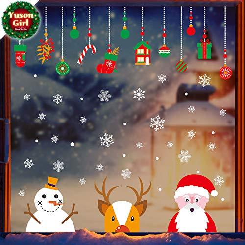 Ventanas de navidad Pegatinas Papá Noel reno muñeco de nieve Vinilo extraíble árbol de navidad DIY Wall Window Door Mural Decal Sticker para escaparate
