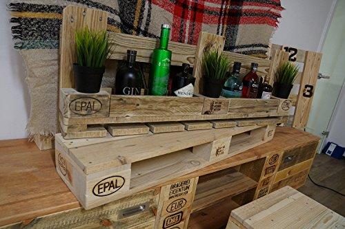 Palettenmöbel Weinregal mit Glashalter aus recycelten Palettenholz - Jedes Stück ein Unikat -...
