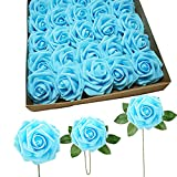 Artificial Flowers 25 Pieces Artificial Roses Real Looking Foam Rose Fake Flowers with Leaves DIY Wedding Home Bouquets Party Decoration (Blue)