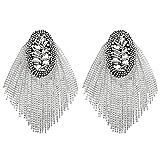 FENICAL Tassel Epaulet Rhinestone Shoulder Board Costume Shoulder Badge Decor for Man Women(Silver)