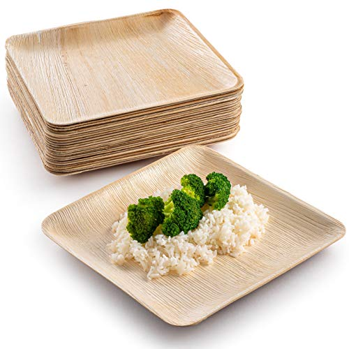 10 in Party Plates Palm Leaf Plates Biodegradable Plates [25 Plates] Bamboo-look Disposable Plates Eco Friendly Plates Heavy Duty Paper Plates Alternative Great for Fancy Dinner Plates by brheez