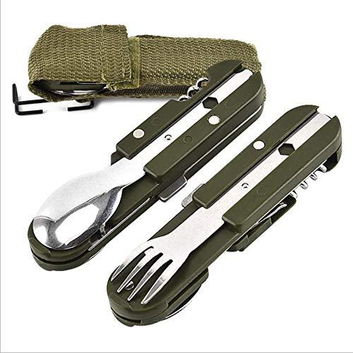XIE WANLIAN 2 coltelli Pieghevoli multifunzionali,può Essere Piegato e smontato,Kit da Viaggio Multifunzionale da Campeggio in Acciaio Inossidabile,Stoviglie da Picnic