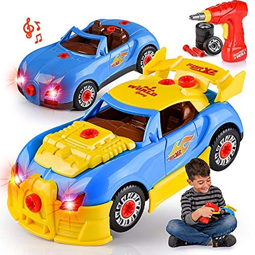 Kids' Take Apart Racing Car Toy: 30-Piece Construction Play Set for Boys & Girls| Realistic Lights & Sounds Car Assembly Toy Tool Kit | Build Your Own Car Educational Toy For Kids Aged 3+| Top Gifting