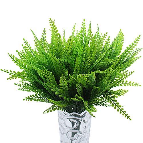 JaneYi (6 Piezas) Planta de Helecho Boston Artificial Hierba Fénix Artificial Falso Arbusto de plástico Arreglo Floral Hoja Verde para Bricolaje Casa Oficina Café Cocina Balcón Jardín Decoración