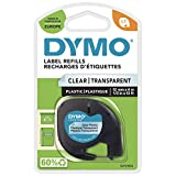 Dymo LetraTag Etiquetas de plástico, rollo de 12mmx4 m, Negro sobre Transparente