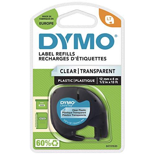 DYMO-Etikettenband, LetraTag-Etikettiergeräte, 12mm x 4m schwarz auf transparent