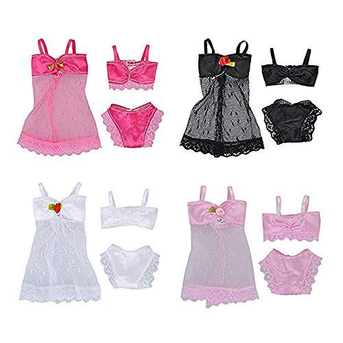 Changlesu Puppenkleidung, Puppenkleidung und Zubehör 4 Sätze Mode Mädchen Puppe Spielzeug Sommer Strand Baden Bikini Anzüge Kleidung Zubehör für Mädchen Spielzeug Kinder Mädchen Geburtstag