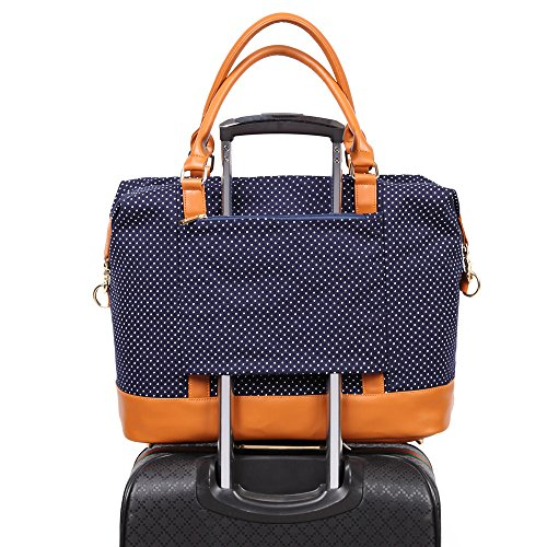 Women Ladies Canvas Weekender Bag Overnight Carry-on Tote Duffel in Trolley Handle (Polka Dot Blue)
