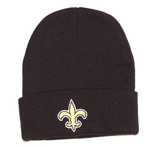 Reebok New Orleans Saints Beanie-Mütze, schwarz, mit Bündchen – NFL Manschette Winter Knit Toque Cap
