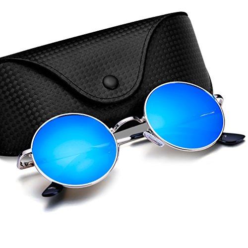 Menton Ezil Estilo John Lennon Gafas de Sol Redondo Pegueño Círculo Polarizadas Vintage Metálico de Hipis Montura Resorte a Hombres (La luz azul)
