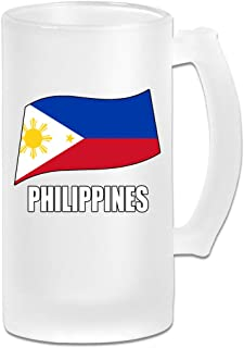 Philippines Flag Wine Glasses Cup With Handle, 16 OZ / 500 ML Large Pub Beer Glass For Freezer