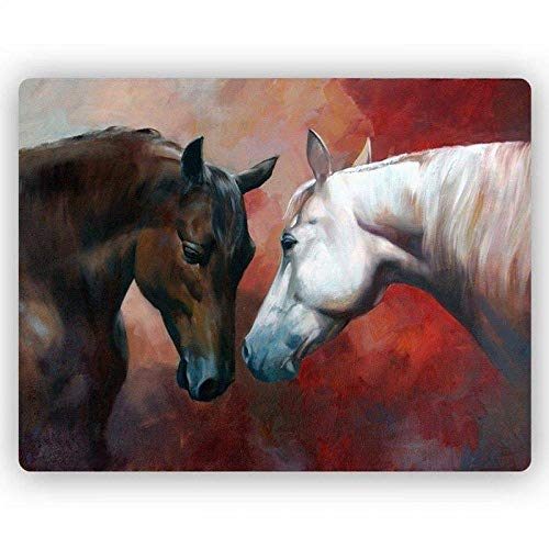 SADHAF Leinwand Malerei abstrakt weiß und braun Pferd Kunstdruck Wohnzimmer Home Decoration Wandbild A4 60x80cm