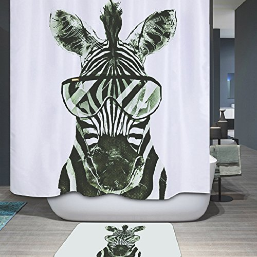 DECMAY Duschvorhang Textil, Wasserdicht & Anti-schimmel, Tier Digitaldruck Duschvorhang, Waschbar, mit 12 Duschvorhang Ring, Zebra Muster 180x200cm