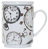 La Cija Relojes Tisana de Porcelana con Filtro de Acero Inoxidable, Blanco, 11x7.9x10.9 cm