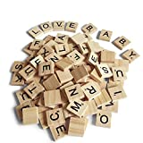 200PCS Scrabble Letters for Crafts - Wood Scrabble Tiles-DIY Wood Gift Decoration - Making Alphabet Coasters and Scrabble Crossword Game