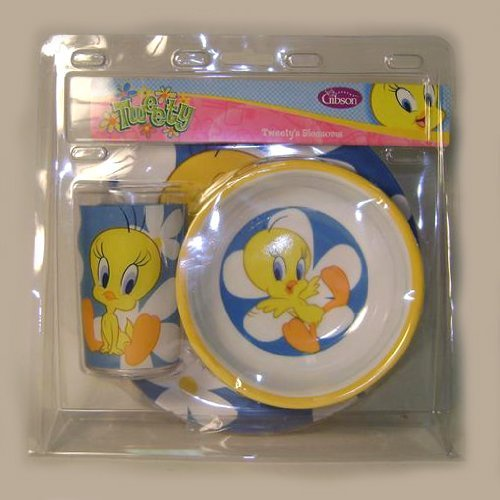 Tweety Plastic Tumbler, Bowl and Plate - Tweety's Blossoms