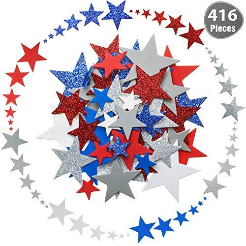 Outus 416 Stücke Patriotische Stern Sticker Stern Schaum Sticker Selbstklebende Sticker für Unabhängigkeitstag Dekorative Bastelsticker, 8 Farben und 6 Größen