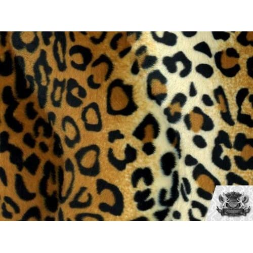 26a3332269 1 X Velboa Faux   Fake Fur Leopard GOLD Fabric By the Yard