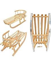 Holzschlitten Kinderslee van beukenhout, rugleuning incl. trektouw, slee, leuning, schuiver, metalen glijders.