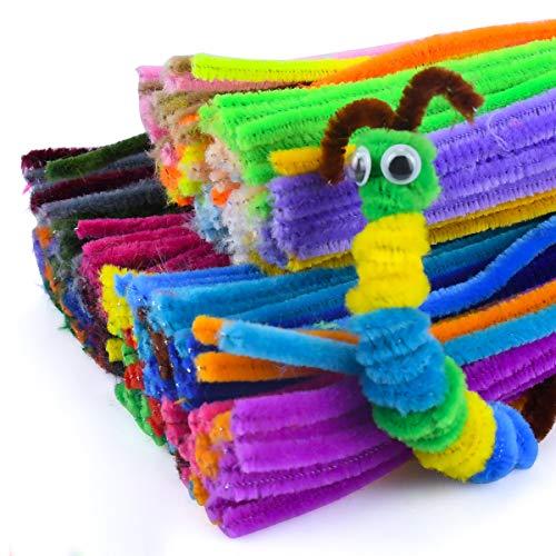 300本入り モール 工作用 カラーモール 手芸材料 DIY飾り物 子供知育玩具 パーティー シェニール・スティック クリスマスツリー飾り物 (彩色)