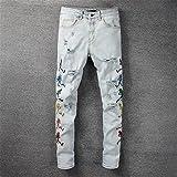 DovSnnx Vaqueros Rectos Pitillo Slim Ajustados para Hombre Moda Clásico Casual Biker Pantalones De Mezclilla Impresión Elástico Largo Pantalón para Hombres Masculino Rasgado Azul Claro
