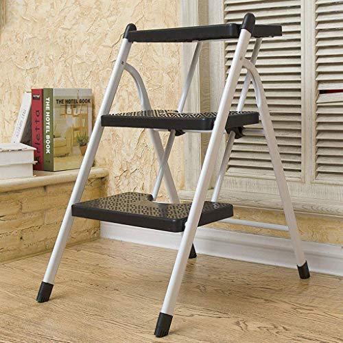 MHBGX Multifunction Folding Step Stool,Folding Stool Step Stool Change Shoe Bench Herringbone Stool Footstool Small Seat Foldable Black 3-Stage