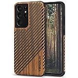 TENDLIN Kompatibel mit Samsung Galaxy S21 Ultra Hülle Holz Schutzhülle & TPU Hybrid Handyhülle (Holz und Leder)