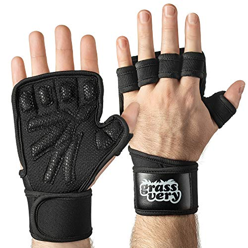 GRASSVERY Fingerless Weight Lifting Gym Workout Gloves for Men, Women – Palm Protection Gym Gloves with Adjustable Wrist Support for Weightlifting, Gym, Crossfit Exercise – 1 Pair, Black