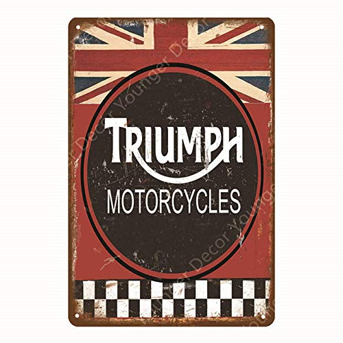 ZYZRYP Tinplate Wall Art Motor Oil Metal Sign Classic Motorcycle Poster Retro Painting Bar Garage Decoration 20x30cm YD6929J