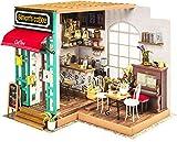 Robotime. Simons Kaffee DG109 - Holzmodellbau - Puppenhaus mit LED-Licht - DIY