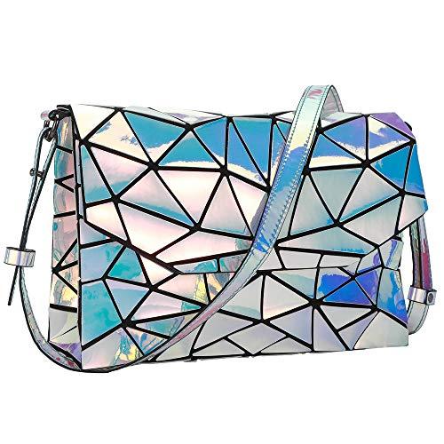 HotOne Luminous Geometric Purse and Handbag Holographic Purse Reflective Purse Fashion Backpacks (Laser Strap bag)