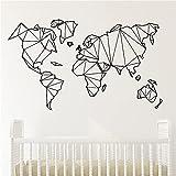 Etiqueta engomada geométrica de la pared del mapa del mundo, mural de vinilo, adhesivo para decoración de dormitorio, decoración del hogar, adhesivo para pared, Mural A6 30x51cm